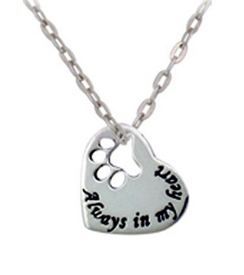 "2015 New style ""alway in my heart"" Necklace Dog Paw Print Tag Heart silver pendant necklace Wholesale Jewelry(China (Mainland))"