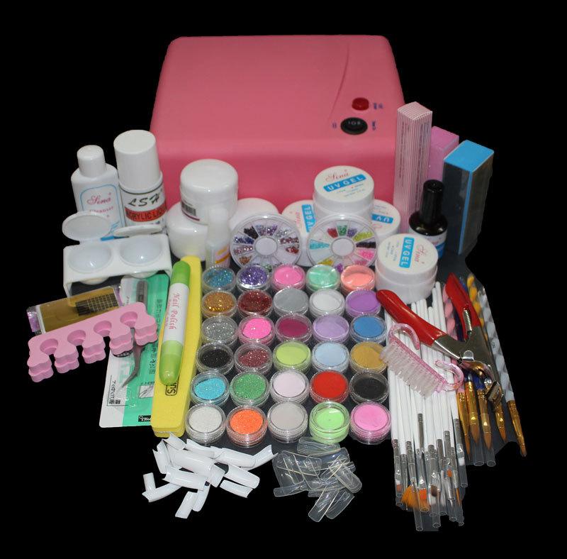 BTT-116 free shipping Pro 36W UV Dryer acrylic nail art set ,acrylic nail kit ,kit nail gel ,kit Gel nails set with lamp(China (Mainland))