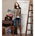 Korean Fashion Woman Spring Autumn Outwear Vintage Casual Slim Female Blazers Jackets 50 Wool Long Sleeve