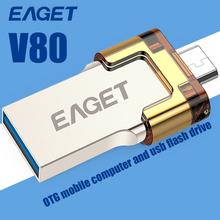 EAGET V80 USB Flash Drive 64GB 32GB 16GB micro USB 2.0 Stick OTG Smartphone Pen Drive Dual-Use Pendrive Portable Memory Stick