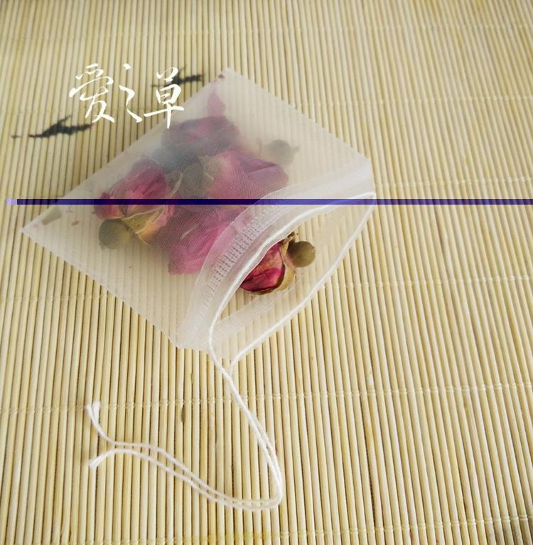100Pcs/lot New Pyramid Nylon Tea Bags 5*6cm Empty Transparent Nylon Teabags with String Filter Tea Bag(China (Mainland))