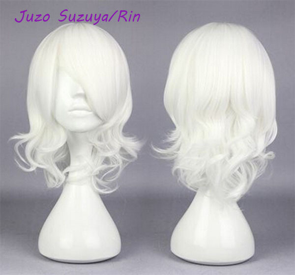 Tokyo Ghoul Juzo Suzuya Rin Cos Wig White Hair Medium Curly 40cm Anime Cosplay Wigs Hallowmas wig with hairpin<br><br>Aliexpress