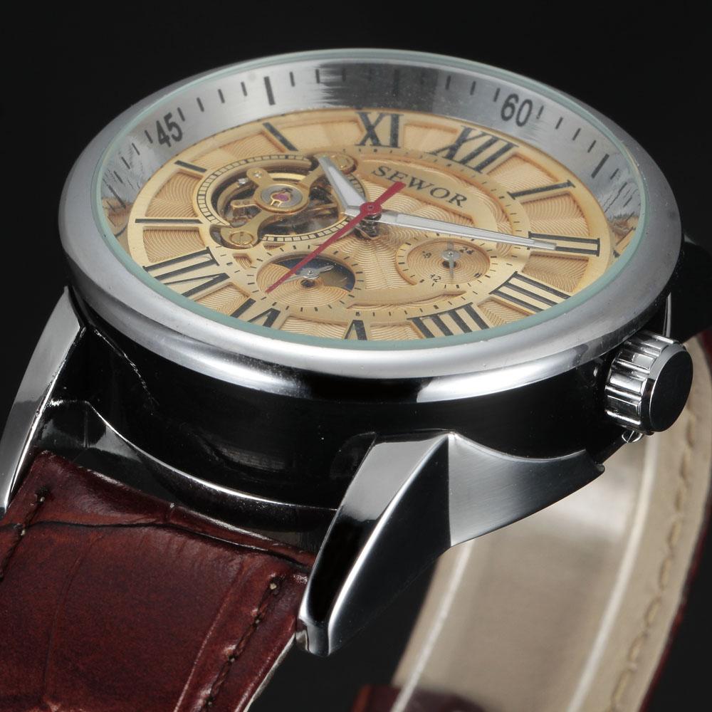 2016 sewor brand design fashion luxury male leather business skeleton automatic mechanical men military wrist watch gift clock(China (Mainland))