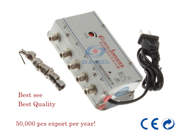 CATV Cable TV Signal Amplifier 1 in / 4 out AMP Video Booster Splitter, AC220V 50Hz 2W free shipping(China (Mainland))