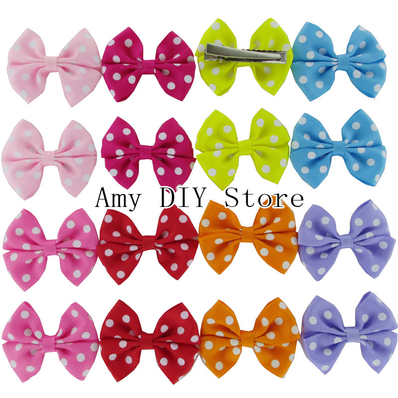 Free Shipping!100pcs/lot NEW Polka Dot Grosgrain Ribbon Hair Bows WHIT Hair Clips,Baby Girls Hair Accessories Boutique HairBowsОдежда и ак�е��уары<br><br><br>Aliexpress