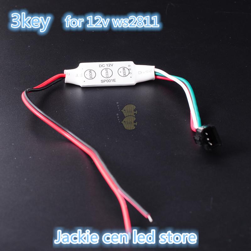 dc12v mini 3key led rgb controller for 5050 ws2811 led strip light(China (Mainland))
