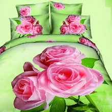 3D Oil Pink Rose Wedding Duvet Cover,4pc bedding set without filler,3d oil painting Pink Rose Princess Girls Duvet Cover Queen