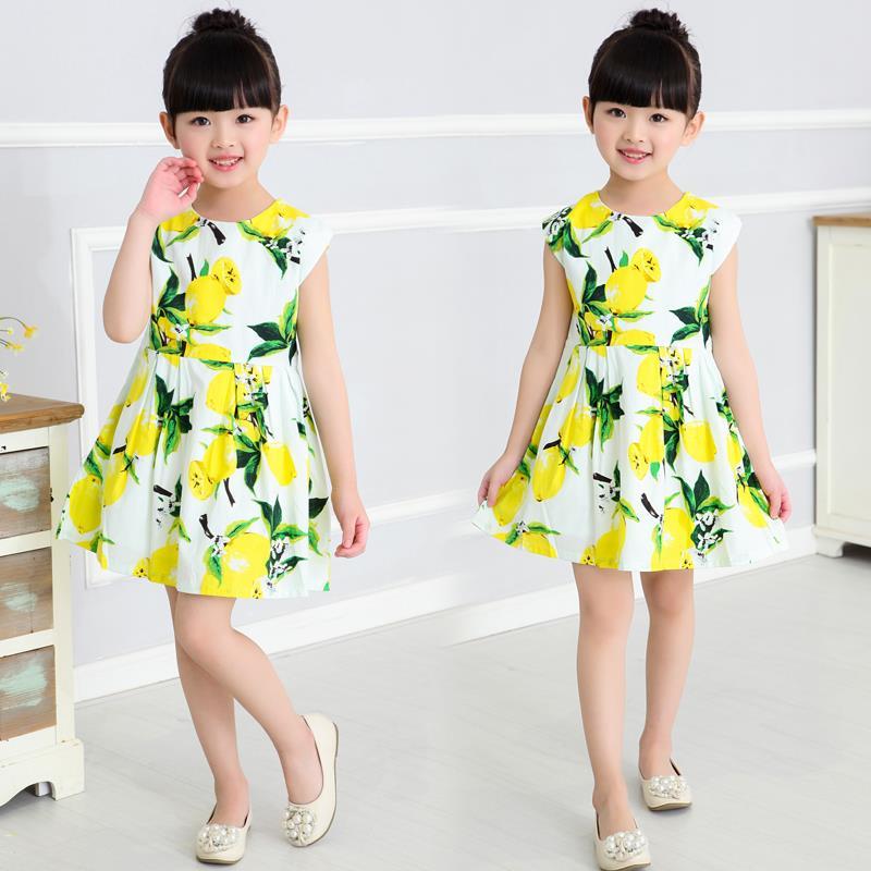 2016 New Yellow Lemon Print Baby Girls Clothing Fashion