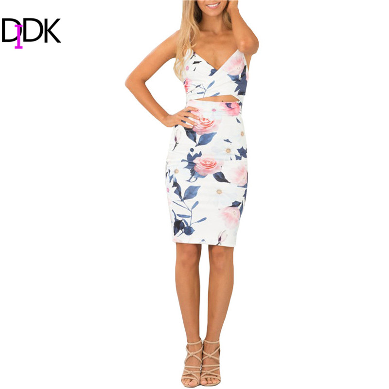 DIDK Summer Style 2016 Fashion Women Dresses Sexy Club Sleeveless Spaghetti Strap Cut High Street Sheath Knee Length Dress - TOPS FASHIONS store