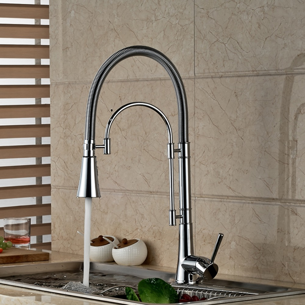 Фотография Single Hole Deck Mounted Single Handle Pull Out Kitchen Faucet Swivel Spout Mixer Tap Chrome Finished