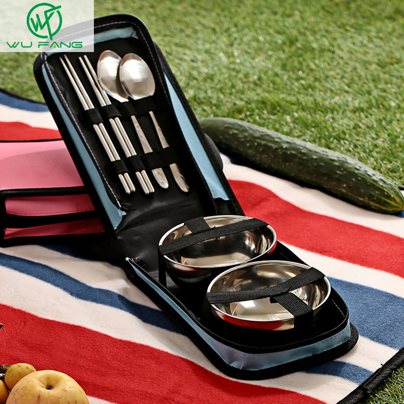 Portable stainless steel square Couples Cutlery Chopstick Spoon Bowl Dinnerware Sets School Outdoor Travel Picnic Gifts favors(China (Mainland))