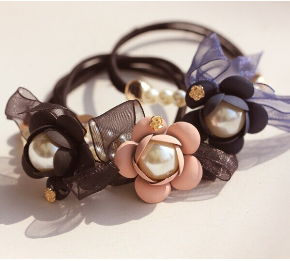 2pcs/lot 3D Daisy Pearl Lace Butterfly Hair Bands Elegant Lady Elastic Hair Ties For Women W2314(China (Mainland))