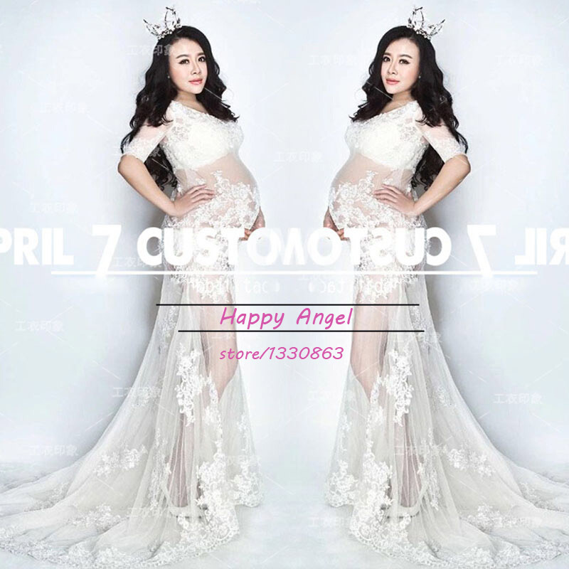 2015 New Maternity pregnant women Photography Props Chiffon White Dress Pregnancy costume elegant Romantic clothing Summer style<br><br>Aliexpress