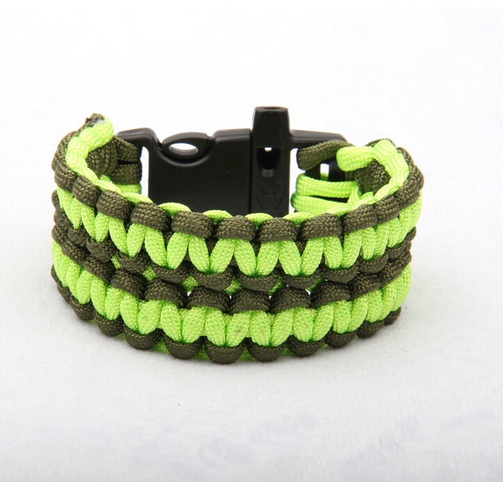 Wholesale outdoor bracelets hand woven rope bracelets Army green whistle bracelets color can be custome made fast delivery(China (Mainland))