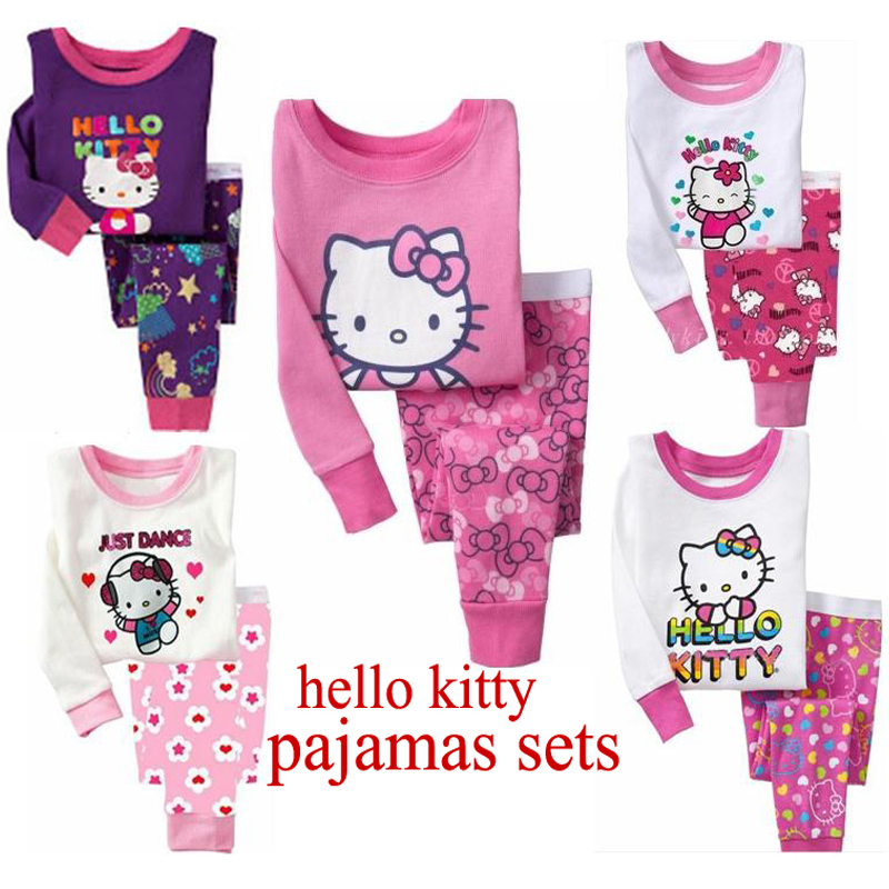2016 New Pajamas Baby Wear Girls Children's Cartoon hello kitty Pyjamas Suits Kids pijamas - and Children Store store