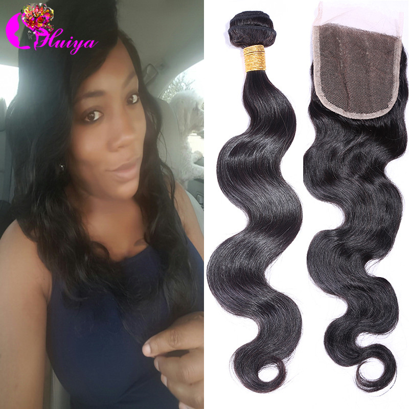 Cheap 6A Grade Virgin Brazillian Body Wave With Closure Unprocessed 1Pcs Lace Closure With 3Pcs Brazilian Body Wave Hair Bundles