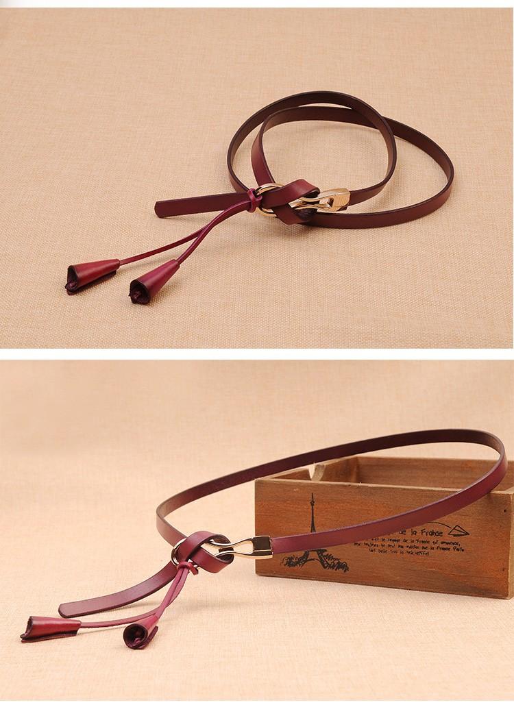 2016 women's cowskin thin belt tieclasps all-match genuine leather strap Women brief vintage casual fashion belt