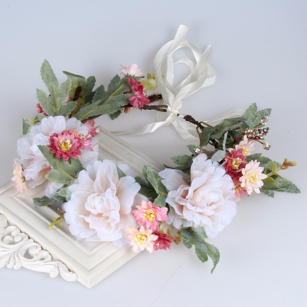 Peony flowers wreath Adjustable ribbon headdress wedding headbands flowers hair accessories party photography Headwear(China (Mainland))