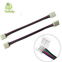 Tanbaby 10pcs 10mm 4 pin Two RGB Connectors Wire Adapter For SMD 5050 rgb color No Need Soldering for strip to strip(China (Mainland))