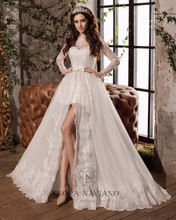 Buy Vestido De Noiva Bridal Gowns High Low Detachable Skirt Wedding Dress Long Sleeve Lace Wedding Dresses Removable Skirt 2016 for $181.09 in AliExpress store