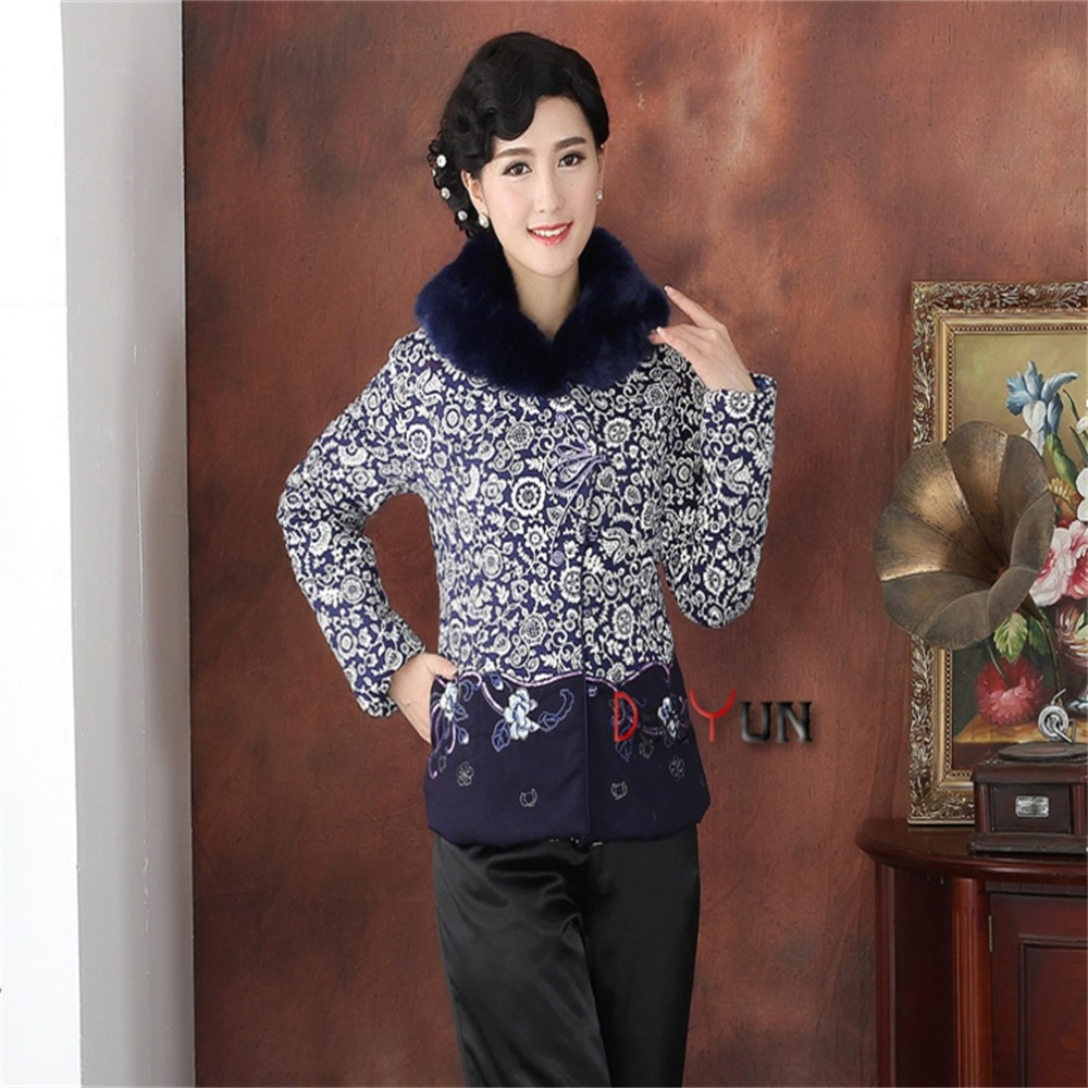Hot Sale Winter Blue White Chinese Womens Silk Satin Fur Collar Wadded Jacket Fashion Tang Suit Outerwear M L XL XXL 3XL 4XLОдежда и ак�е��уары<br><br><br>Aliexpress