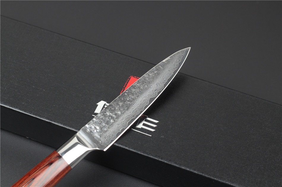 "Buy 2015HOT!!! 73 layers 3.5"" fruit knife Japanese Damascus steel kitchen paring knife knife  with Color wood handle free shipping cheap"