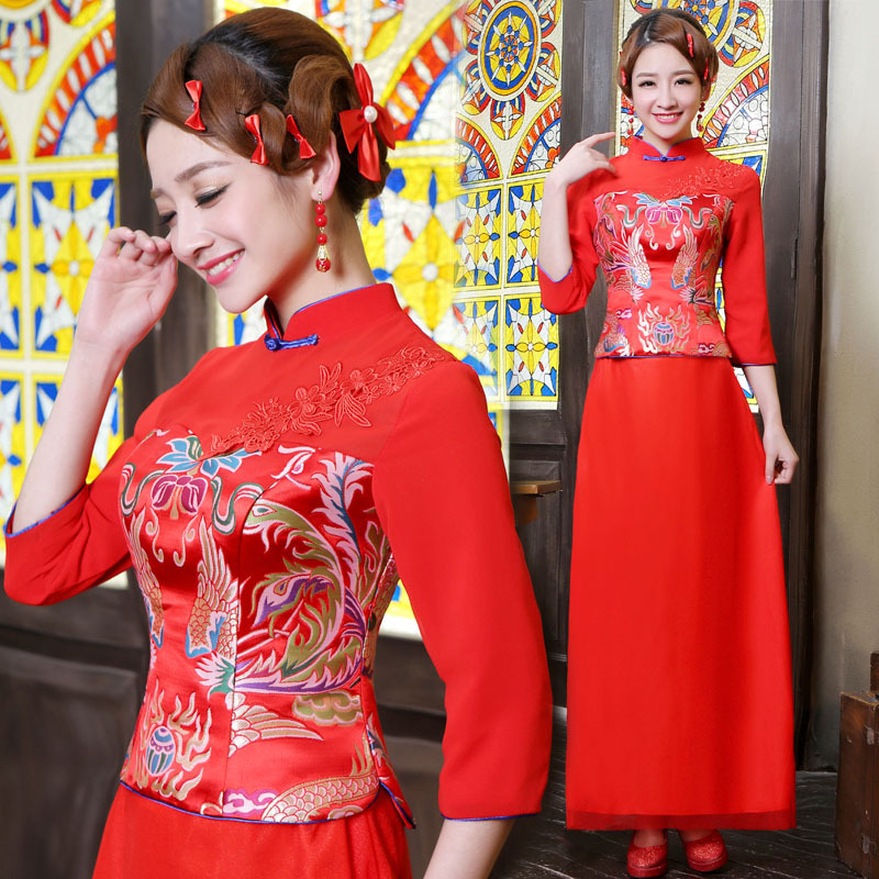 chinese traditional dress vestido de noiva red long sleeve cheongsam improved collar bride wedding Qipao chinese style dressОдежда и ак�е��уары<br><br><br>Aliexpress
