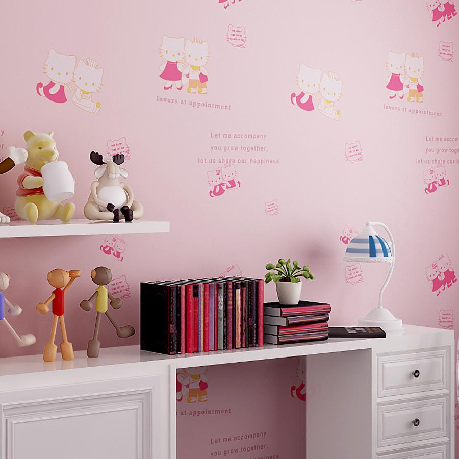2016 new arrival cute hello kitty wallpaper kids bedroom for Home wallpaper 2016