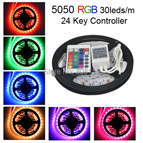 5m RGB LED Strip 5050 Waterproof Kit, 30leds/m LED Tape Rope Luminarias Light + 24 Key RGB Remote Controller Free Shipping(China (Mainland))