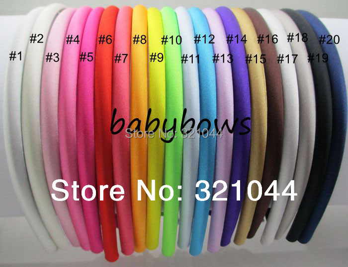60pcs/lot 7mm Plain Solid Color Satin Covered Resin Hairbands,Ribbon Covered Adult Kids Headbands Infant Headband Free Shipping(China (Mainland))