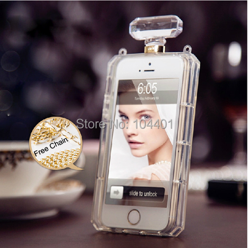 Luxury Soft TPU Perfume Bottle Case iPhone 6 5S 5C 4S Samsung Galaxy S3 S4 S5 Note2 Note3 cover free chain - Jinser Ltd's store