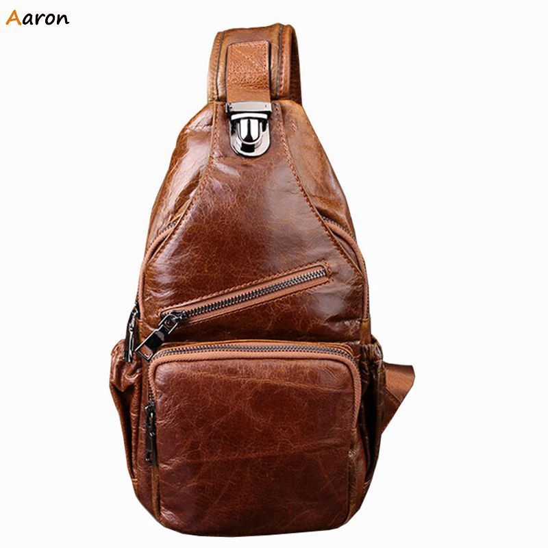 Aaron - High Quality Solid Bag Italian Leather Bags For Men,Casual Multifunction pockets Waist Bag,Sewing Thread Male Chest Pack