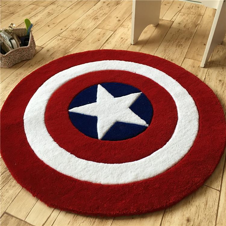 Special Captain America cartoon acrylic round carpet coffee table / Room / bedroom / basket / chair cushion mat rug fashion(China (Mainland))