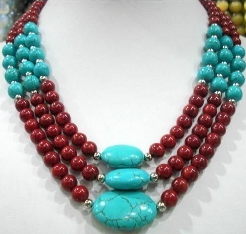 2015 (Min Order1) 3 Row Red Coral & Turquoise Necklace Fashion Jewelry Making Rope Chain Necklace Beads Natural Stone 17-19inch(China (Mainland))