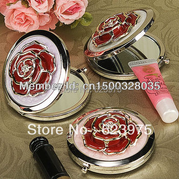 Wholesale Wedding Supplies Pocket Mirror Bold Red Rose Chrome Compact Mirror (Set of 4)