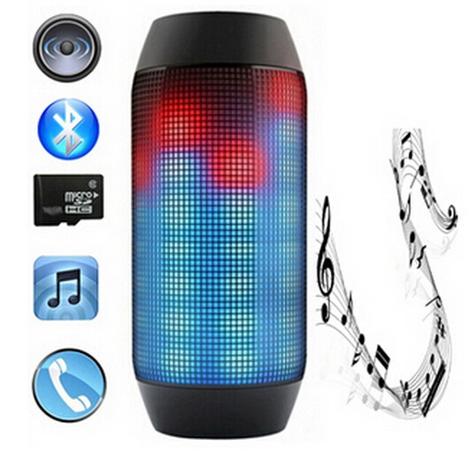 New Pulse Portable Bluetooth Speaker Super Bass Wireless Mini Speakers Sound Box Built-in Flash LED Light & Mic TF AUX USB Disck