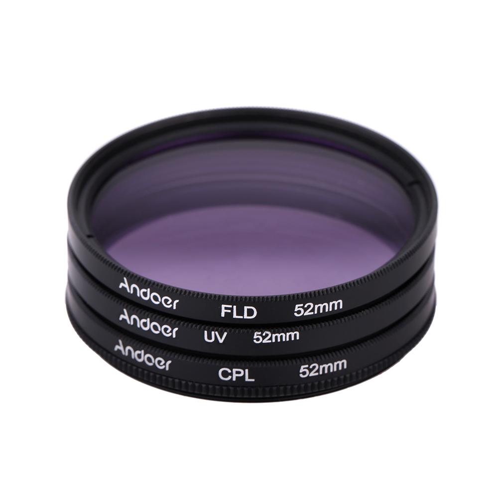 Andoer 52mm Filter UV+CPL+FLD Circular Filter Kit Circular Polarizer Filter with Bag for Nikon Canon Pentax Sony DSLR Camera(China (Mainland))