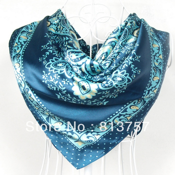 2014 New Arrival Classical Brand Polyester Silk Scarf Printed For Women 90*90cm Blue Satin Square Ladies Scarf And Fashion Shawl