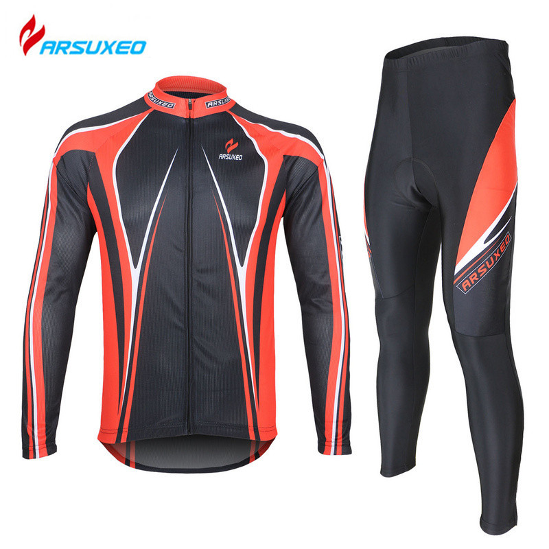 ARSUXEO Men's Cycling Jersey Clothing Sets Breathable Long Sleeve Road Bike Bicycle Jersey+ Tights Pants 3D Coolmax Gel Paded