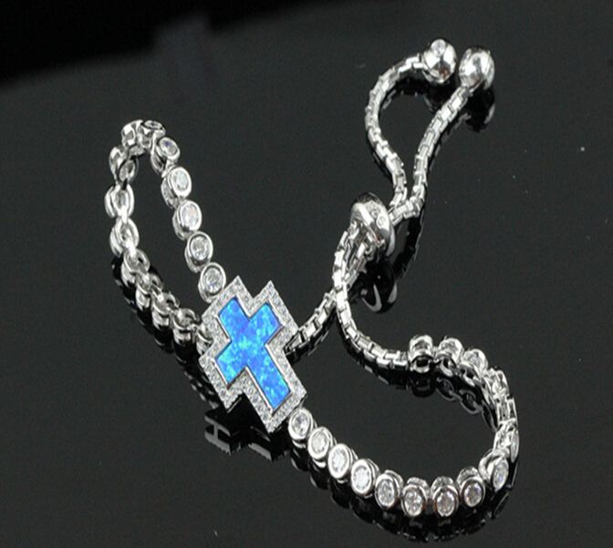 Free Shipping 2015 New Arrival 925 Sterling silver Adjustable Synthetic Blue Cross Fire Opal Bracelet(China (Mainland))