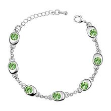 Free Shipping!!! Women's 7 Beans Style 18K White Gold Plated & Olive Green Crystal Bracelet Made With Swarovski Elements (5742)(China (Mainland))