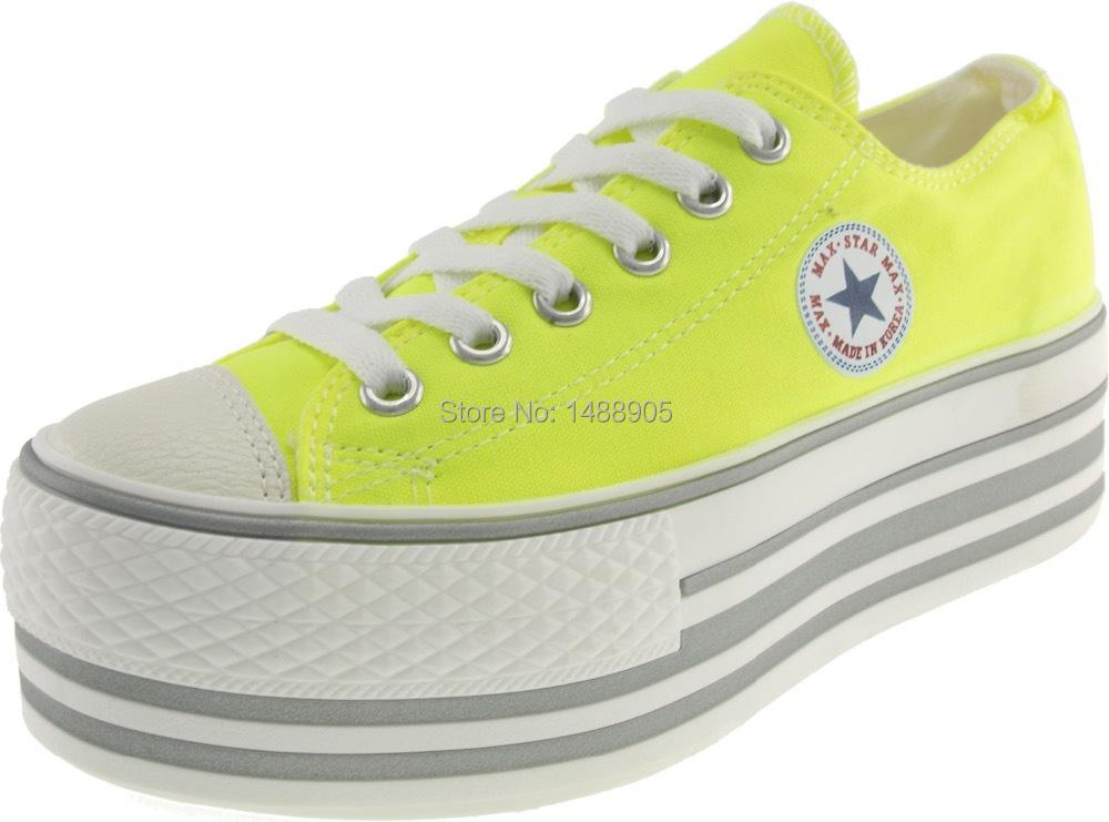 maxstar c50 6 holes platform low sneakers neon green in