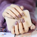 New 24PCS sleeve finished fake nails tips simple lines plaid understated Van chocolate mixing nail