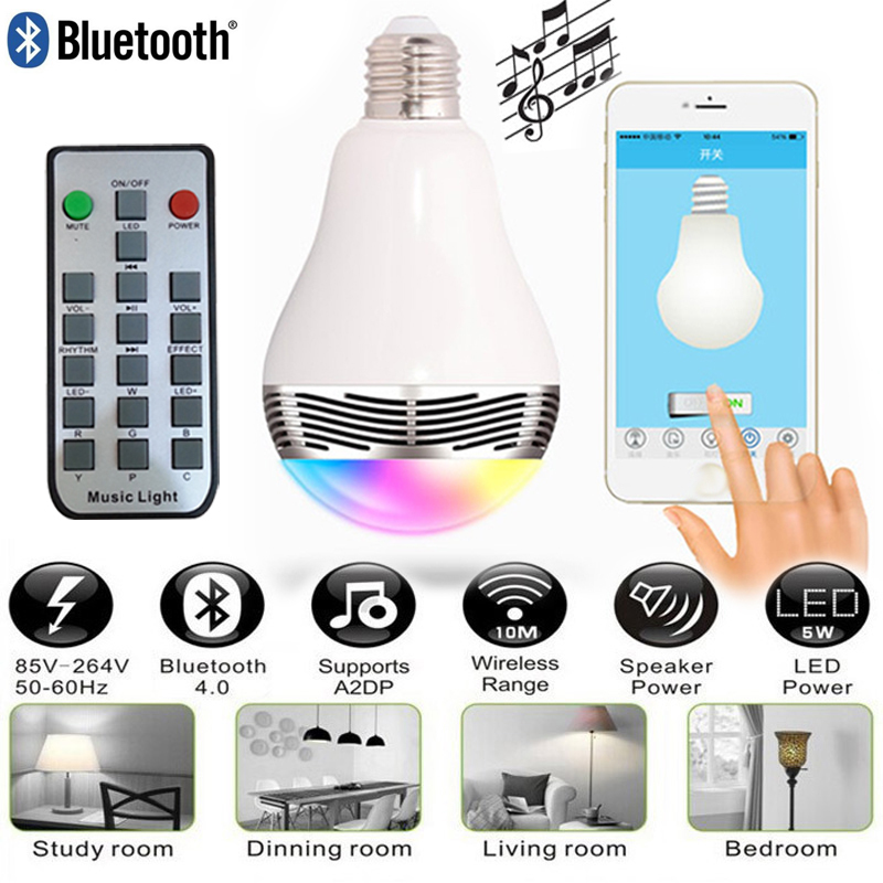 LED Light Bulb E27 Colorful Lamp 6W Wireless Bluetooth Speaker Bulbs with Remote Controller For Iphone Samsung Laptop 2015New(China (Mainland))