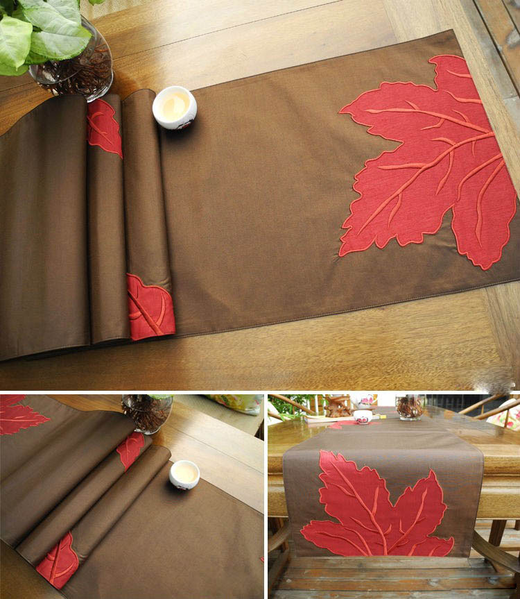 Table Coffee runner table placemat Leaf Runner Runner Placemat.jpg Embroidery Applique  Table