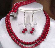 Hot sale free shipping 2 rows artificial red coral round beads necklaces earrings bracelets party jewelry set 17-18inch BV383(China (Mainland))