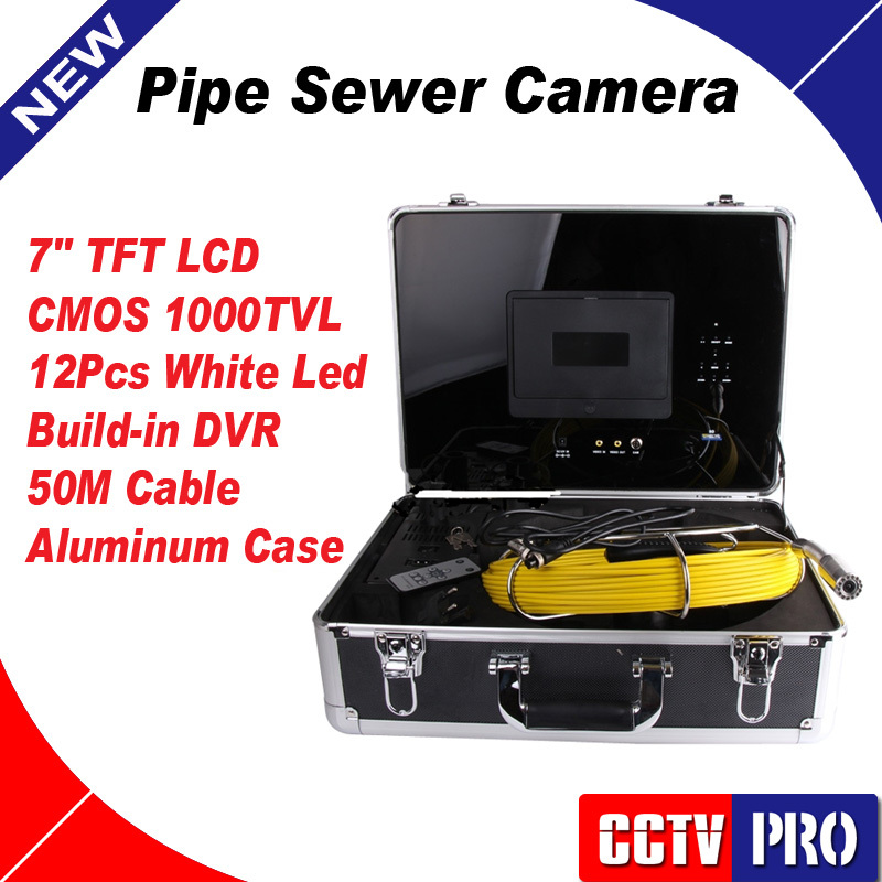 """Duct Cleaning Sewer Pipe Camera System Equipment For Pipeline & Wall Inspection with 7"""" LCD DVR Functional 50m Fiberglass Cable(China (Mainland))"""