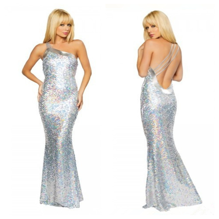 Free Shipping Birthday Halloween Cosplay Costumes Mermaid Tail Silver Black Red Mermaid Backless Dress For Sexy Women NN-014(China (Mainland))