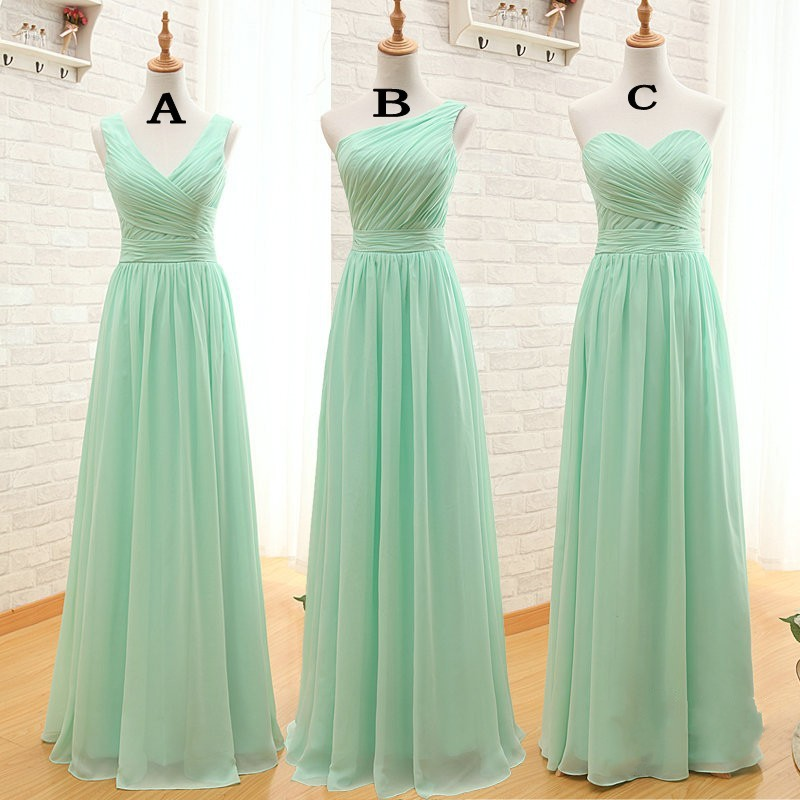 Mint green long bridesmaid dresses cheap a line chiffon for Simple elegant wedding dresses cheap