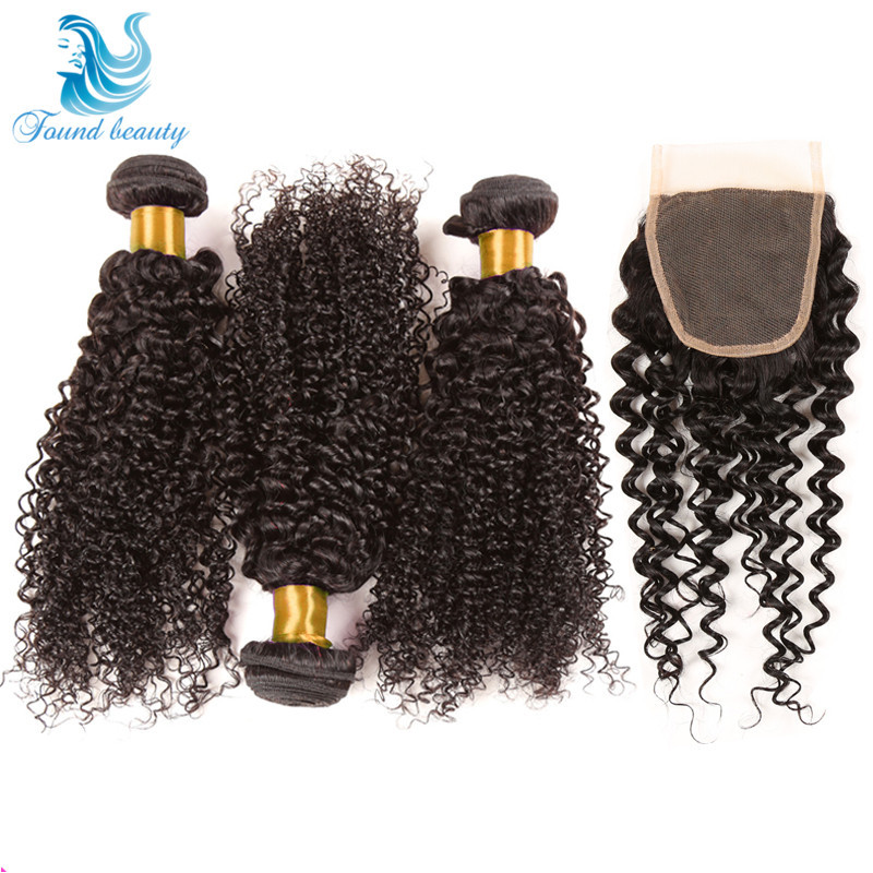 Mongolian Kinky Curly Hair With Closure 7a Best Unprocessed Human Hair Weaves 3 Bundles With 1 Lace Closure HC Curly Virgin Hair<br><br>Aliexpress